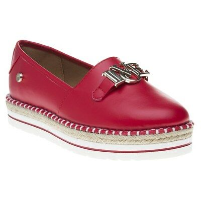 New Womens Love Moschino Red Espadrille Synthetic Shoes Espadrilles Slip On