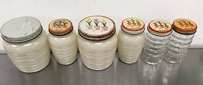 Fire King Tulip Tops on Ivory Range Set Grease Jar and Salt & Pepper Shakers Lot