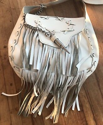 Retro White Leather Handbag Tassels Faux Bullet Chain Clasp 1970s Free Shipping