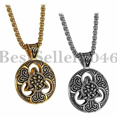 Men Stainless Steel Celtic Trinity Knot Triquetra Pendant Box Chain Necklace 22""