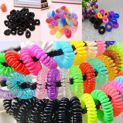 12pcs Elastic Phone Cord Line Rubber Hair Ties Band Rope Ponytail Holder Lots