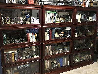 3 sets of 4 shelf Barrister stackable bookcases