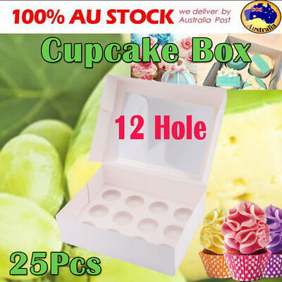25Pcs 12 Hole Cupcake Box Window Cake Boxes Cases Muffin Pods Domes Cup Holder