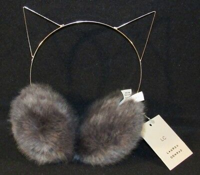 LC Lauren Conrad Feline Cat Gray / Rose Gold Color Ear Muffs Puffs One Size