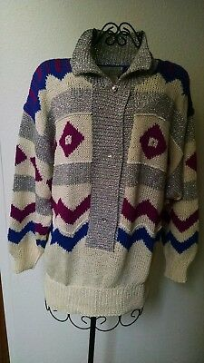 Nannell Collectors Hand Knit Sweater Multi Colored Size Lg, Item #316