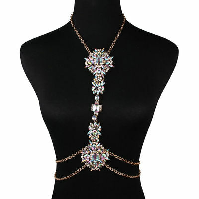 Rhinestone Crystal Gem Pendant Harness Body Chain Necklace Bikini Jewelry HC