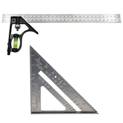 """7'' Right Angle Triangle Ruler + 12"""" Adjustable Engineers Combination Square"""