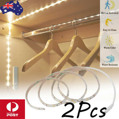 2x Battery Operated LED Strip Light PIR Motion Sensor Under Bed Wardrobe Cabinet