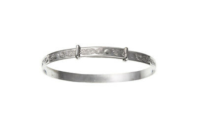 Solid Silver Baby Bangle 18 months to 3 years Celtic Design Expandable