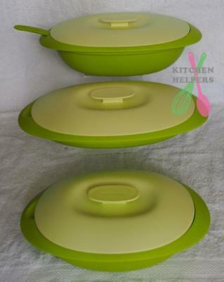 Tupperware Allegra Blossom Microwave Serving Dishes & Colander Set of 3- Green
