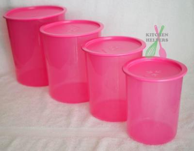 Tupperware One Touch Canister Set of 4- pink - Brand New