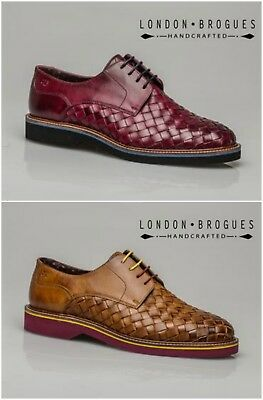 London Brogues Branson Mens Leather Formal Casual Shoe In Plum Or Tan
