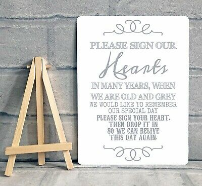 A5 METAL HEARTS Drop Box Frame Wedding Guest Book Table Sign ...