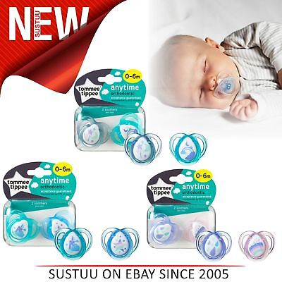 Tommee Tippee Closer to Nature Anytime Soother 0-6m 2Pk│Dummies│Assorted Colours