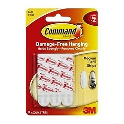 Command 17021P Mounting Refill Strips - Medium, White, 9Strips