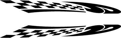 2 x chequered flags vinyl stickers graphics car side decals fun racing stripes