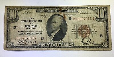1929 $10 Ten Dollars Brown Seal Federal Reserve Bank Note Frbn New York, Ny
