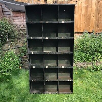 Vintage Industrial Metal 18 Pigeon Hole  Cabinet Storage Shelves