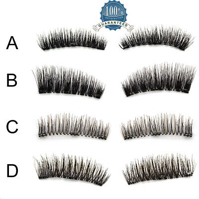 4x False Eyelashes Natural Handmade Eye Lash Extension Reusable Double Magnetic