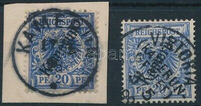 Cameroon stamp 2 stamps 2 different cancellations Used, Piece 1897 WS251838