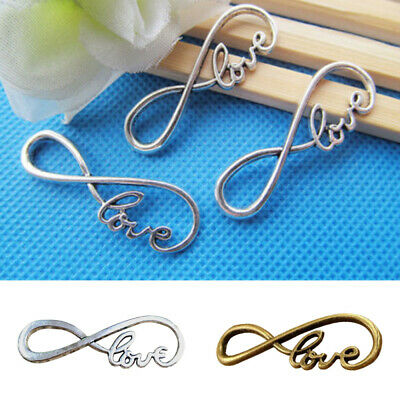 "10pcs Love Infinity Charms ""8"" Shape Connectors for Pendants Jewellery Making UK"