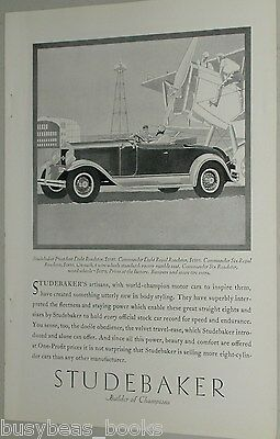 1929 Studebaker advertisement, STUDEBAKER President Eight Roadster, Art Deco