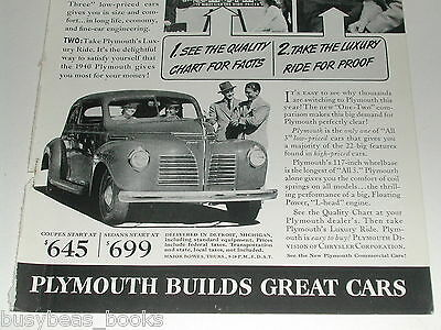 1940 Plymouth ad, steel body coupe, quality chart