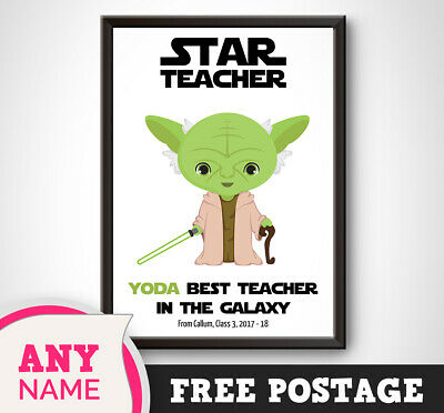 PERSONALISED Star Wars Print YODA best TEACHER Thank you End Term Picture Gift