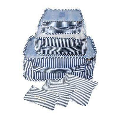 Waterproof Travel Storage Bags Clothes Packing Cube Luggage Set (6Pcs)Blue/White