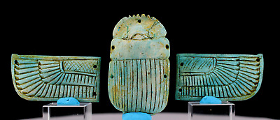 Egyptian blue faience (stone) winged scarab - ca. 14,5 x 6,0 cm.