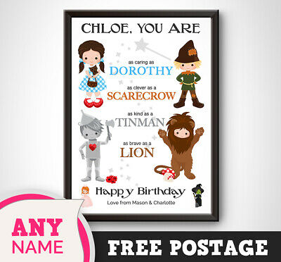 PERSONALISED WIZARD of OZ Print Gift Present KEEPSAKE Picture Girl Sister Poster