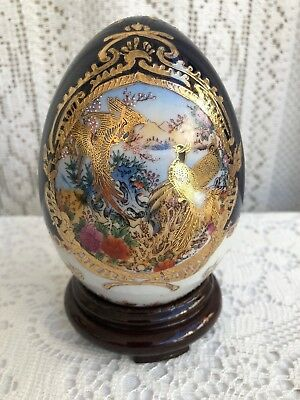 "*** 5"" Limoges Gilded Enamel Porcelain Cobalt Blue/white Egg With Peacocks ***"