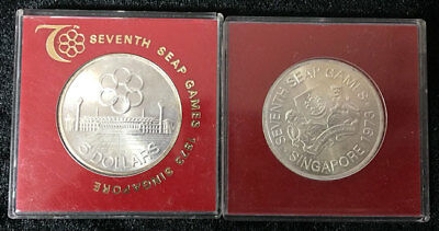 Singapore 5 Dollar Seap Games 1973 With Offical Red Case Coin Aunc