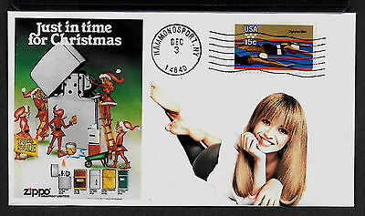 1980 Zippo Lighter & Pin Up Girl Featured on Xmas Collector's Envelope *A283