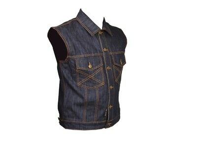 Motorcycle Waistcoat Dark Blue Denim Biker Style Fashion Motorbike Rider New