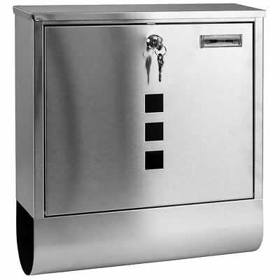 Large Stainless Steel Post Letter Mail Box Lockable 2 Keys Outdoor Wall Mounted