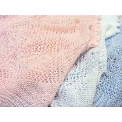Stunning UK Made Knitted Cotton Christening Shawl Blanket ABC Design