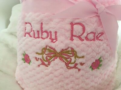 PERSONALISED BABY BLANKET EMBROIDERED SOFT FLUFFY WAFFLE Pink Blue Cream White