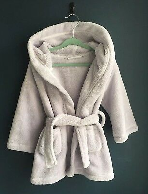 Little White Company Baby Plush Soft Lilac Robe Dressing Gown 12-18 Months