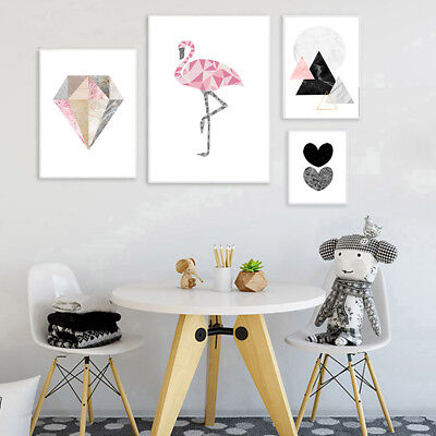 Geometric Flamingo Heart Poster Abstract Wall Art Canvas Prints Room Decoration