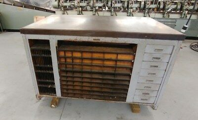 Antique Hamilton Manufacturing Printers Letterpress Type Cabinet withSteel Top
