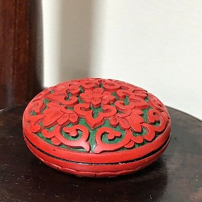 Antique/Vintage Chinese Carved Cinnabar/Lacquer Lidded Jewelry/Trinket/ink Box