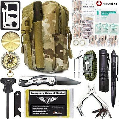 Emergency Survival Kit Pouch - Tactical Outdoor Gears First Aid Supply (40 pcs)