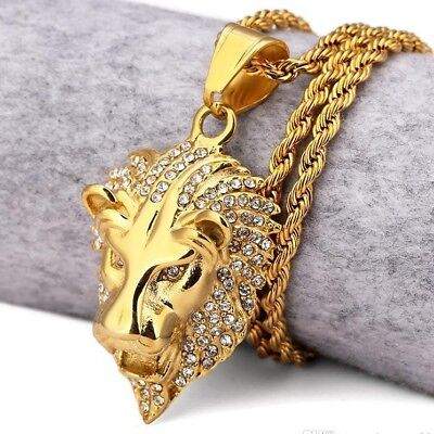 18k Gold Plated ICED OUT LION HEAD PENDANT   CHAIN NECKLACE HIP HOP CZ BLING