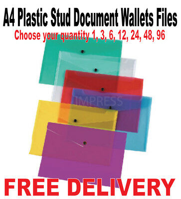 A4 Plastic Stud Document Wallets Files Folders Filing School Office Assorted