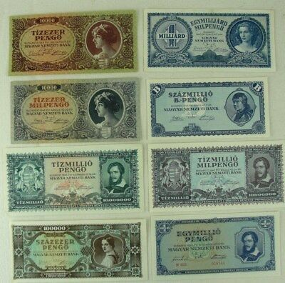 (8) World War 2 Era 1945-1946 Hungary Banknotes Nice Shape