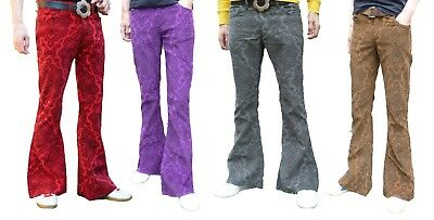 Mens Bell Bottoms FLARES Jeans Trousers Corduroy Cords Hippy Paisley 60s 70s NEW