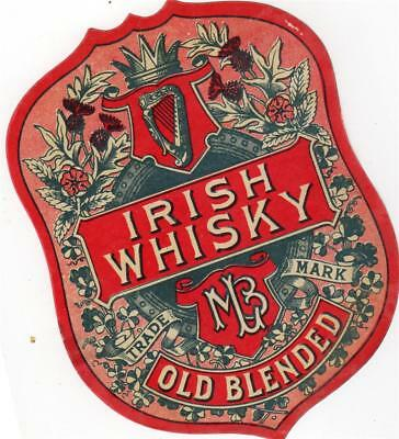Lovely Original Early Irish Whisky Old Blended Label