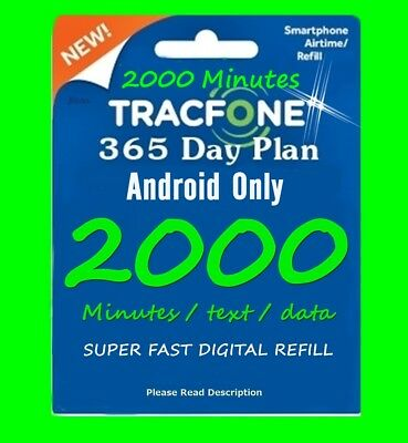 TracFone ANDROID Refill 1 year 365 Days + 1500 minutes + 1500 text + 1500 Data