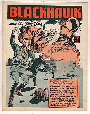 BLACKHAWK  BRITISH EDITION   VF / FN+  3d   BRITISH COMIC ONLY 6 PAGES RARE